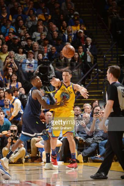 Klay Thompson of the Golden State Warriors passes the ball against the Minnesota Timberwolves on January 25 2018 at ORACLE Arena in Oakland...