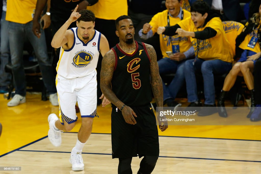 Klay Thompson #11 of the Golden State Warriors reacts against the Cleveland Cavaliers in Game 1 of the 2018 NBA Finals at ORACLE Arena on May 31, 2018 in Oakland, California.