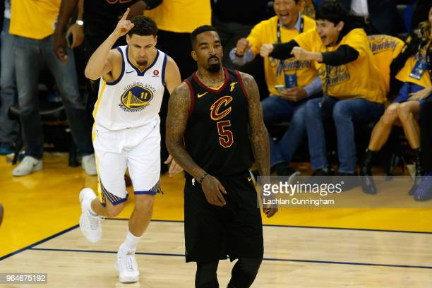 Klay Thompson of the Golden State Warriors reacts against the Cleveland Cavaliers in Game 1 of the 2018 NBA Finals at ORACLE Arena on May 31, 2018 in...