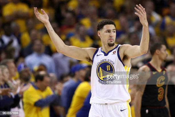 Klay Thompson of the Golden State Warriors reacts against the Cleveland Cavaliers in overtime during Game 1 of the 2018 NBA Finals at ORACLE Arena on...