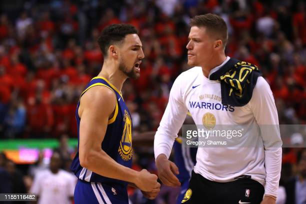 Klay Thompson of the Golden State Warriors reacts against the Toronto Raptors in the second half during Game Five of the 2019 NBA Finals at...