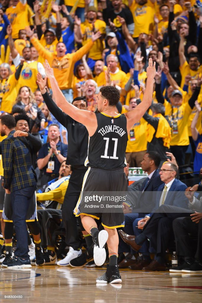 Klay Thompson #11 of the Golden State Warriors reacts during Game Two of Round One of the 2018 NBA Playoffs against the San Antonio Spurs on April 16, 2018 at ORACLE Arena in Oakland, California.