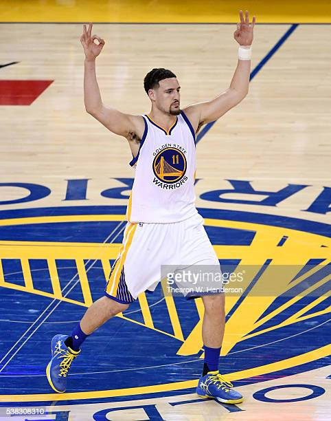 Klay Thompson of the Golden State Warriors reacts in Game 2 of the 2016 NBA Finals against the Cleveland Cavaliers at ORACLE Arena on June 5 2016 in...