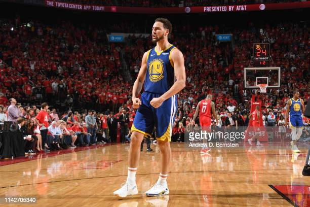 Klay Thompson of the Golden State Warriors reacts to a play against the Houston Rockets during Game Six of the Western Conference Semifinals of the...