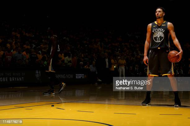 Klay Thompson of the Golden State Warriors shoots a free throw against the Toronto Raptors during Game Six of the 2019 NBA Finals on June 13, 2019 at...