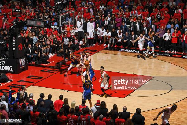 Klay Thompson of the Golden State Warriors shoots a three point basket against the Toronto Raptors during Game Five of the NBA Finals on June 10,...