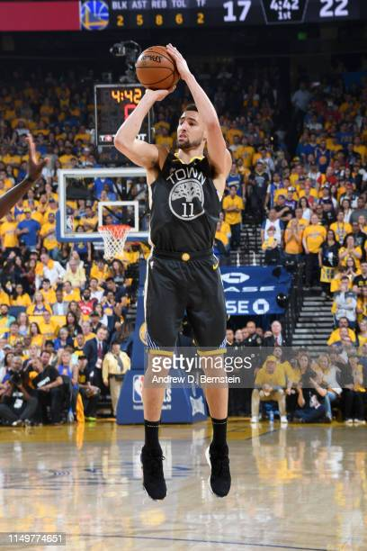 Klay Thompson of the Golden State Warriors shoots the ball against the Toronto Raptors during Game Six of the NBA Finals on June 13, 2019 at ORACLE...