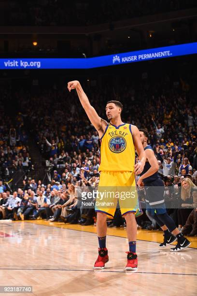 Klay Thompson of the Golden State Warriors shoots the ball against the Minnesota Timberwolves on January 25 2018 at ORACLE Arena in Oakland...