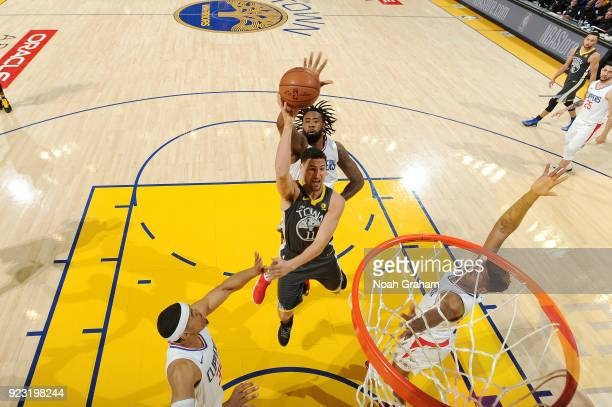 Klay Thompson of the Golden State Warriors shoots the ball against the LA Clippers on February 22 2018 at ORACLE Arena in Oakland California NOTE TO...