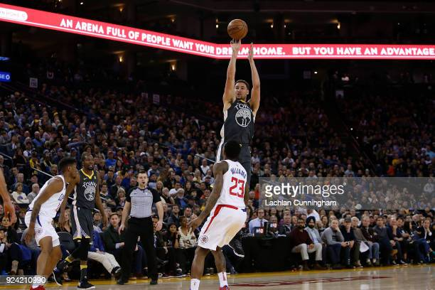 Klay Thompson of the Golden State Warriors shoots the ball against the Los Angeles Clippers at ORACLE Arena on February 22 2018 in Oakland California...
