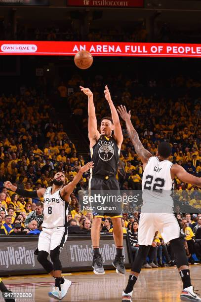 Klay Thompson of the Golden State Warriors shoots the ball against the San Antonio Spurs in Game Two of Round One of the 2018 NBA Playoffs on April...