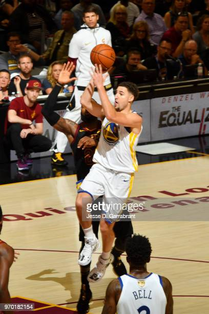 Klay Thompson of the Golden State Warriors shoots the ball against the Cleveland Cavaliers in Game Four of the 2018 NBA Finals on June 8 2018 at...