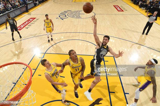 Klay Thompson of the Golden State Warriors shoots the ball during the game against the Los Angeles Lakers on February 2 2019 at the Pepsi Center in...