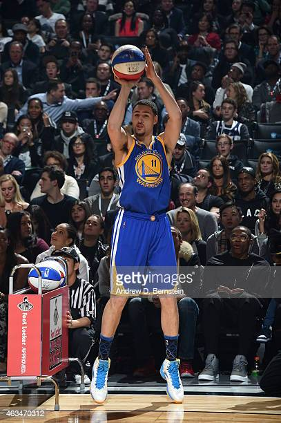 Klay Thompson of the Golden State Warriors shoots the ball during the Foot Locker Three Point Contest on State Farm AllStar Saturday Night as part of...
