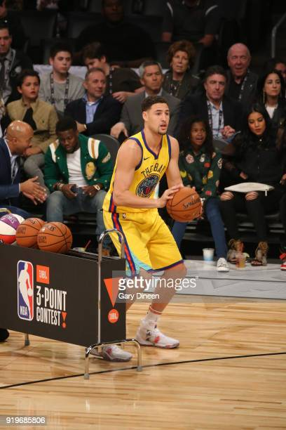 Klay Thompson of the Golden State Warriors shoots the ball during the JBL ThreePoint Contest during State Farm AllStar Saturday Night as part of the...