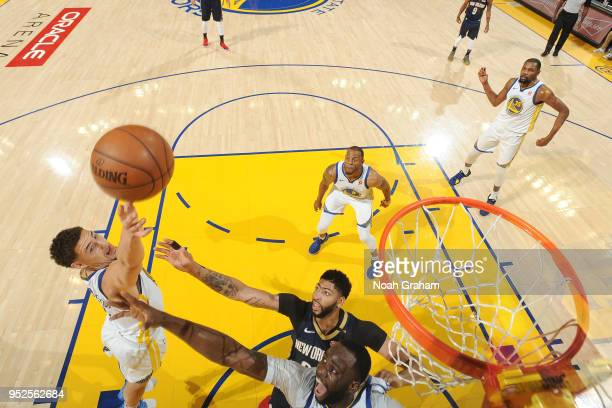 Klay Thompson of the Golden State Warriors shoots the ball during the game against the New Orleans Pelicans in Game One of Round Two of the 2018 NBA...