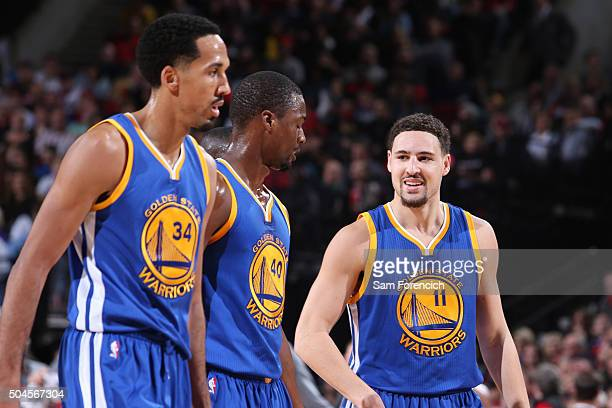 Klay Thompson of the Golden State Warriors smiles and walks off the court against the Portland Trail Blazers on January 8 2016 at the Moda Center...