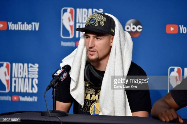 OH Klay Thompson of the Golden State Warriors speaks to the media after defeating the Cleveland Cavaliers in Game Four of the 2018 NBA Finals on June...