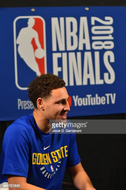 Klay Thompson of the Golden State Warriors speaks to the media during practice and media availability as part of the 2018 NBA Finals on MAY 30 2018...