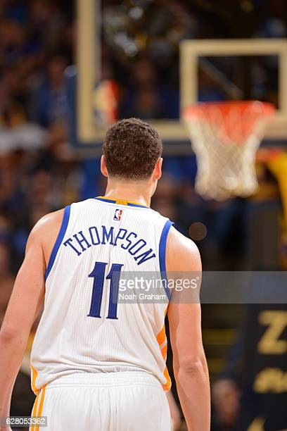Klay Thompson of the Golden State Warriors stands on the court during the game against the Indiana Pacers on December 5 2016 at ORACLE Arena in...