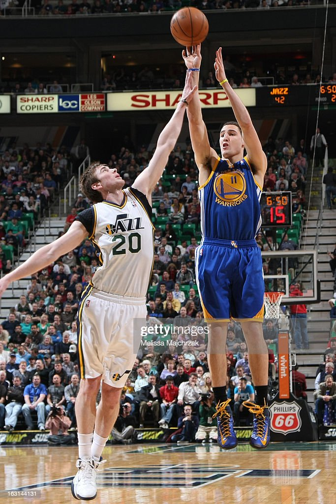 Klay Thompson #11 of the Golden State Warriors takes a shot against the Utah Jazz at Energy Solutions Arena on February 19, 2013 in Salt Lake City, Utah.