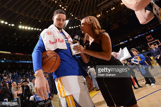 Klay Thompson of the Golden State Warriors talks to CSN Analyst Rosalyn GoldOnwude after the game against the Indiana Pacers on December 5 2016 at...
