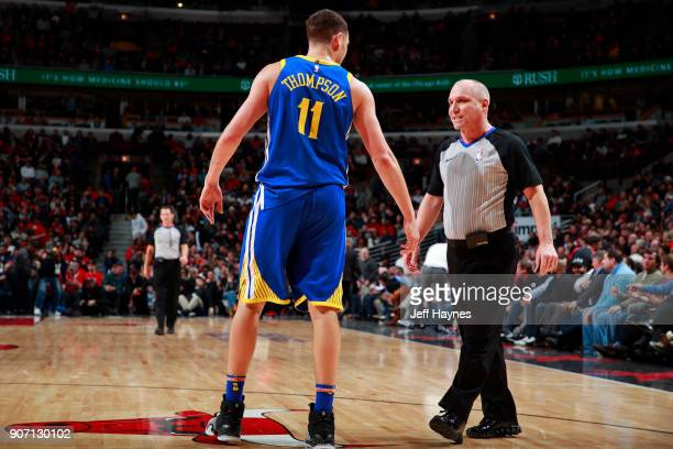 Klay Thompson of the Golden State Warriors talks with Referee Ron Garretson during the game against the Chicago Bulls on January 17 2018 at the...