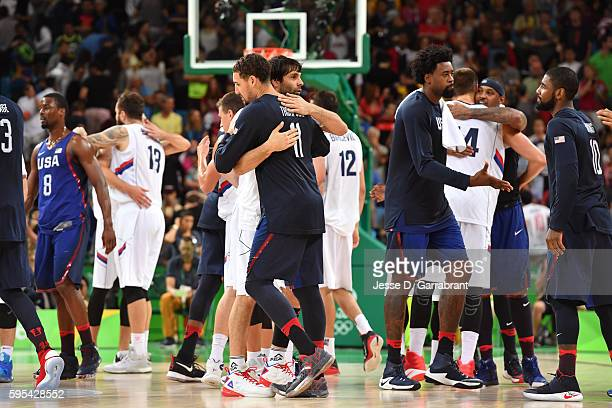 Klay Thompson of the USA Basketball Men's National Team after the game against Serbia during the Gold Medal Game on Day 16 of the Rio 2016 Olympic...