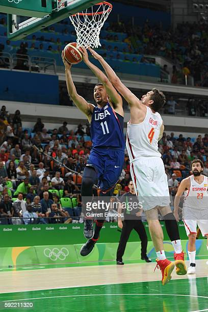 Klay Thompson of the USA Basketball Men's National Team goes for a lay up against Pau Gasol of Spain during the Semifinals on Day 14 of the Rio 2016...