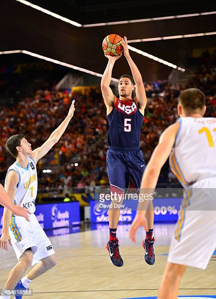 Klay Thompson of the USA Basketball Men's National Team handles the ball against the Ukraine Basketball Team during the FIBA 2014 World Cup...