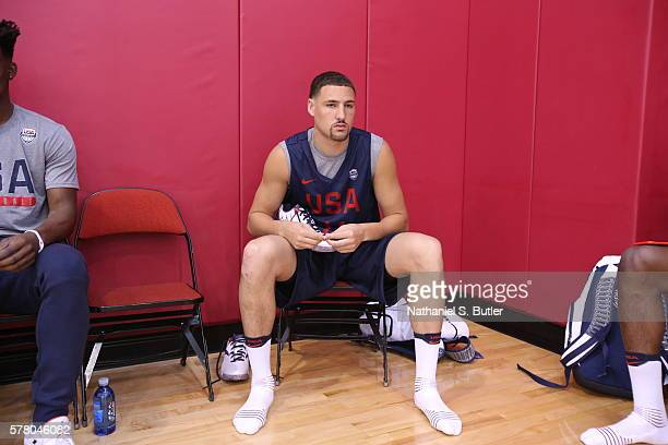 Klay Thompson of the USA Basketball Men's National Team prepares for practice on July 18 2016 at Mendenhall Center on the University of Nevada Las...