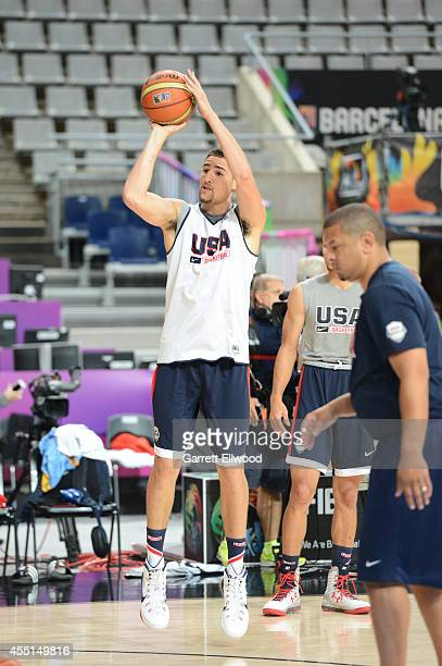 Klay Thompson of the USA Basketball Men's National Team shoots during practice at Palau Sant Jordi on September 10 2014 in Barcelona Spain NOTE TO...