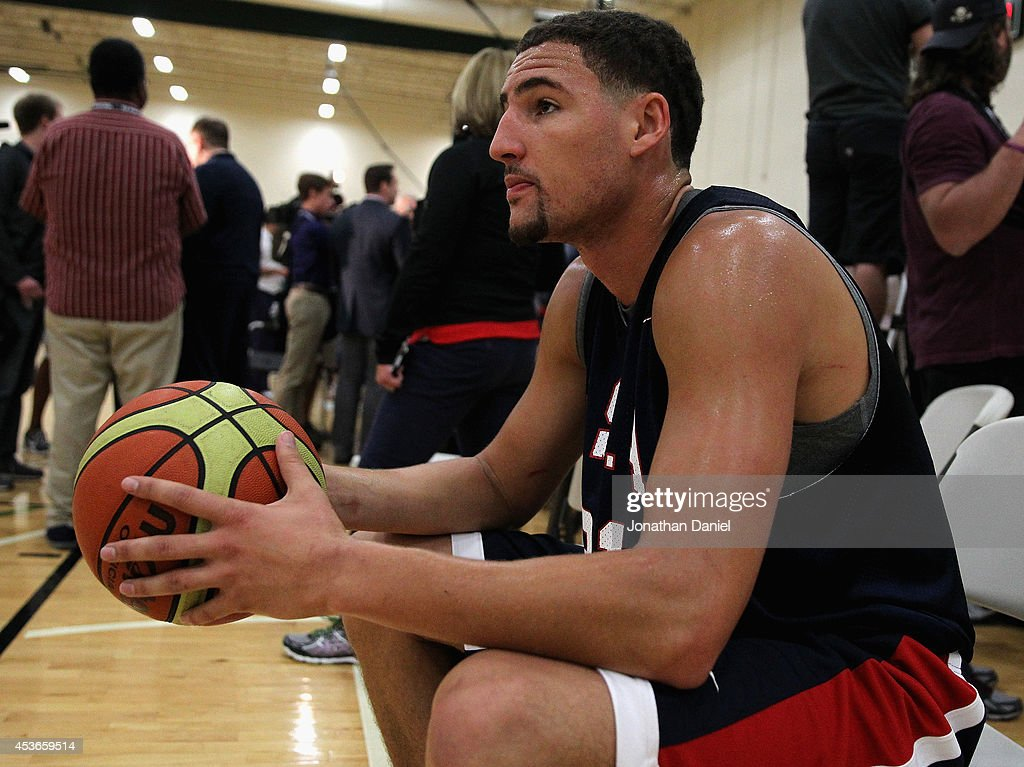Klay Thompson #21 of the USA Basketball National Team takes a break during a USA basketball training session at Quest MultiSport Complex on August 15, 2014 in Chicago, Illinois.