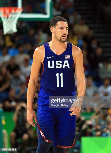 Klay Thompson of the USA looks on during the Men's Gold medal game between Serbia and the USA on Day 16 of the Rio 2016 Olympic Games at Carioca...