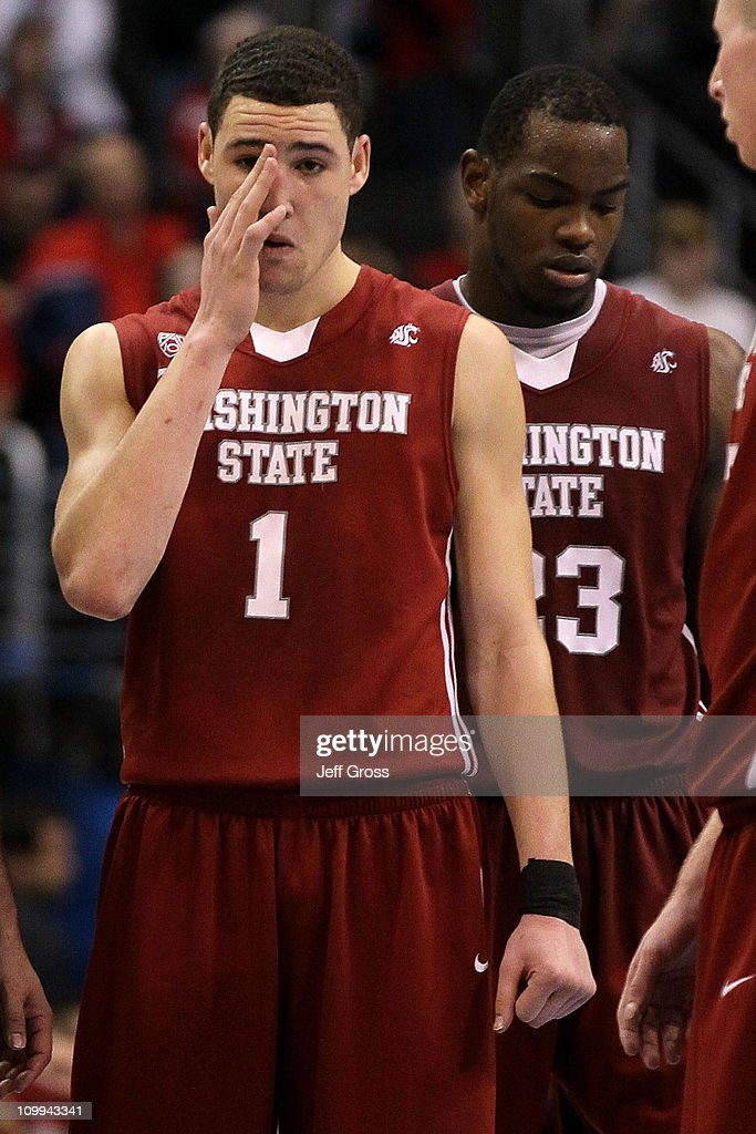 best website 0b776 b03b3 Klay Thompson of the Washington State Cougars reacts after ...