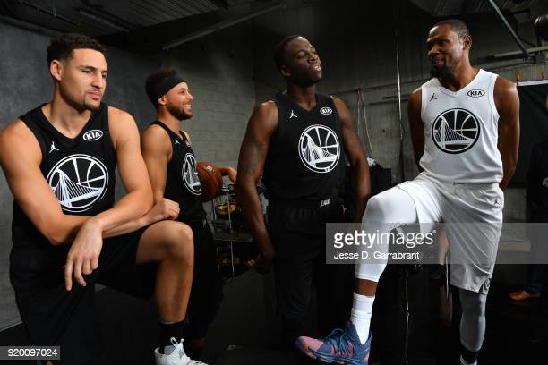 Klay Thompson Stephen Curry Draymond Green and Kevin Durant of the Golden State Warriors pose for a portrait during the NBA AllStar Game as a part of...