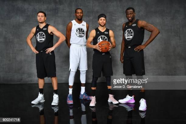 Klay Thompson Stephen Curry Kevin Durant Stephen Curry and Draymond Green of the Golden State Warriors pose for a portrait during the NBA AllStar...