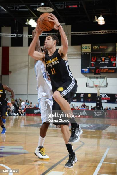 Klay Thonpson of the Golden State Warriors shoots against the Denver Nuggets during NBA Summer League on July 14 2012 at Cox Pavilion in Las Vegas...