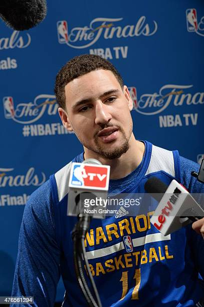 KlayThompson of the Golden State Warriors addresses the media during practice and media availability as part of the 2015 NBA Finals on June 10 2015...