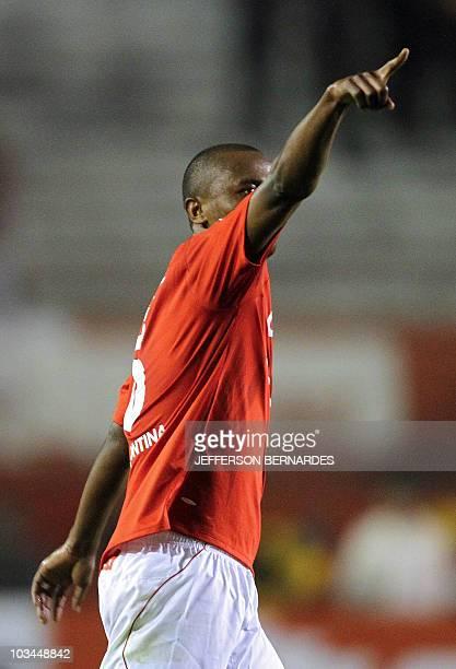 Kleber of Brazilian Internacional celebrates after scoring against Mexican Chivas during their Libertadores Cup final match at Beira Rio stadium in...