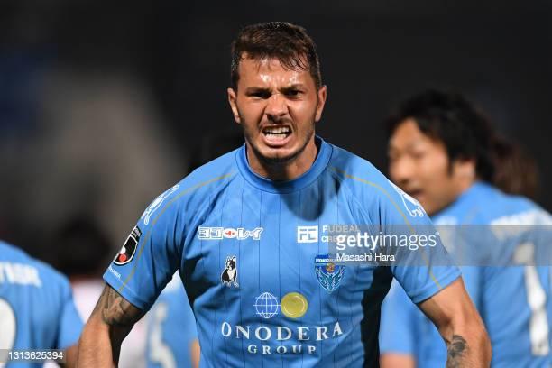 Kleber of Yokohama FC celebrates the first goal during the J.League YBC Levain Cup Group C match between Yokohama FC and Urawa Red Diamonds at the...