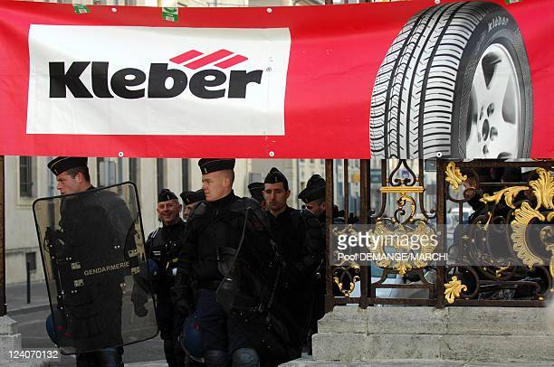 Kleber's workers demonstrate to protest against the decision of the mother-company, Michelin, of closing Kleber's factory in 2009 In Nancy, France On...