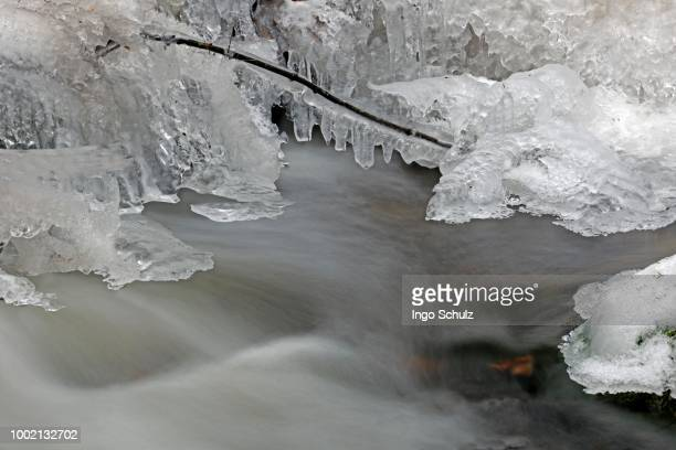 kleine ohe mountain brook, close-up with snow, ice, flowing movement, nationalpark bayrischer wald national park, bavaria, germany - wald stock pictures, royalty-free photos & images
