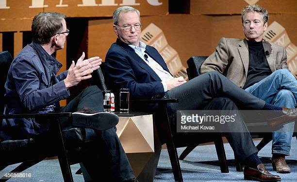 Kleiner Perkins Caufield Byers Partner John Doerr Google Executive Chairman Eric Schmidt and US Senator of Kentucky Rand Paul speak onstage during...