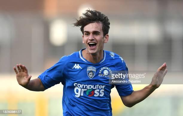 Kleis Bozhanaj of Empoli U19 celebrates after scoring his team's second goal during the Primavera 1 TIM Playoffs match between Juventus U19 and...