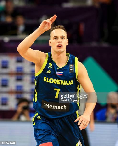 Kleman Prepelic of Slovenia celebrates during the FIBA Eurobasket 2017 semi final basketball match between Spain and Slovenia at Sinan Erdem Dome in...