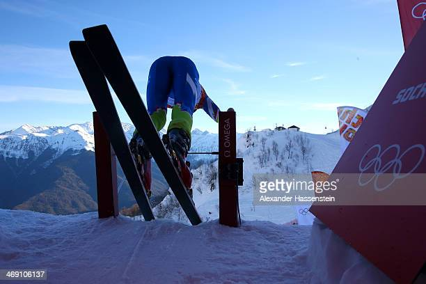 Klemen Kosi of Slovenia leaves the starting house during a training session for the Alpine Skiing Men's Super Combined Downhill on day 6 of the Sochi...