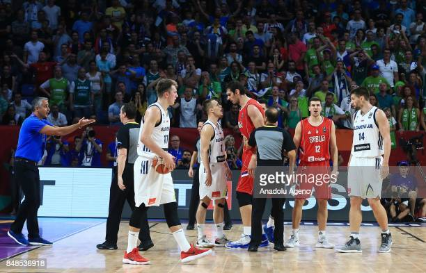 Klemen Prepelic of Slovenia argues with Boban Marjanovic of Serbia during the FIBA Eurobasket 2017 final basketball match between Slovenia and Serbia...