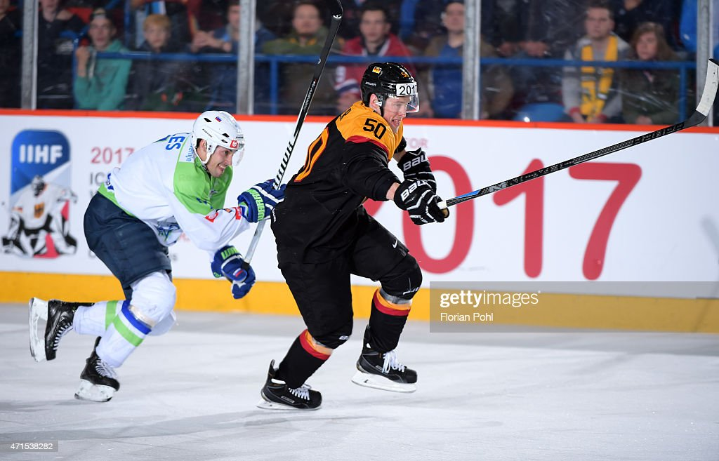Klemen Pretnar of Team Slovenia and Patrick Hager of Team Germany during the game between Germany and Slovenia on april 29, 2015 in Berlin, Germany.