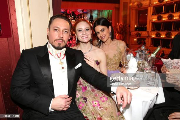 Klemens Hallmann and his girlfriend Barbara Meier and Viktoria Lauterbach during the Opera Ball Vienna at Vienna State Opera on February 8 2018 in...